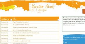 Vacation Items Checklist Template