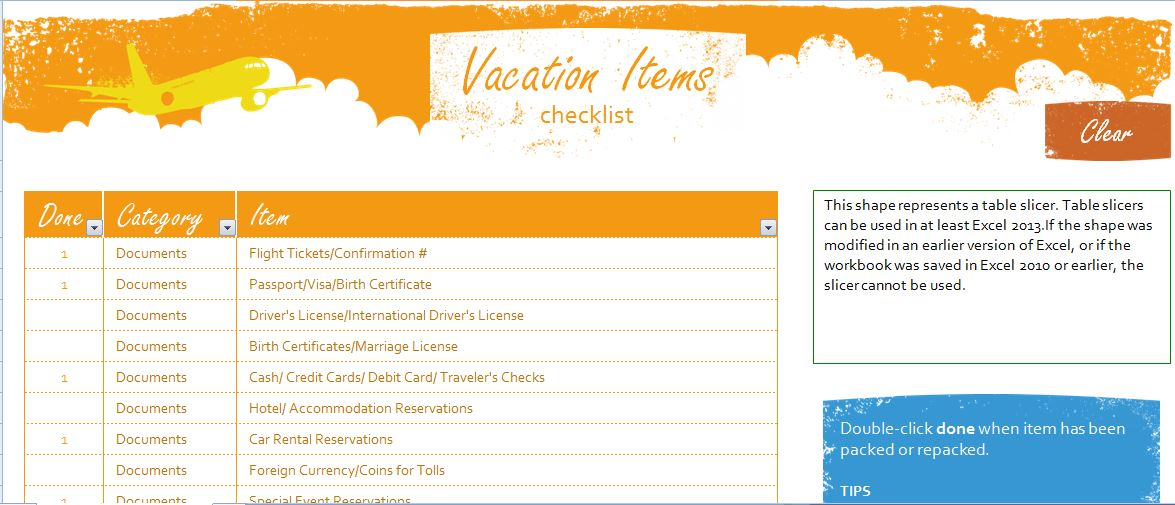 Sample Vacation Items Checklist Template  Formal Word Templates