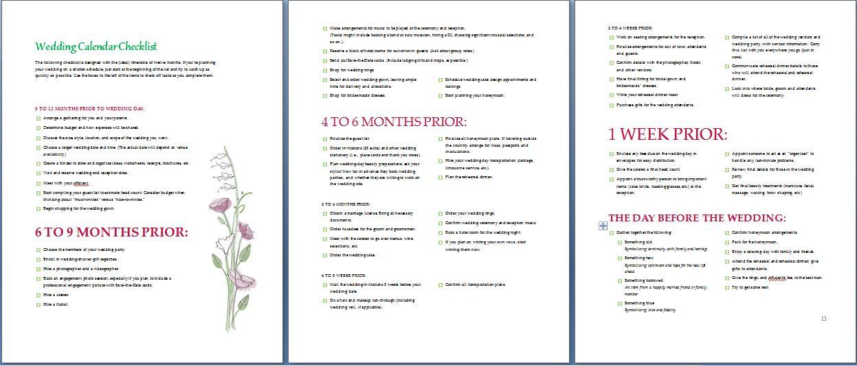 wedding calendar checklist template formal word templates