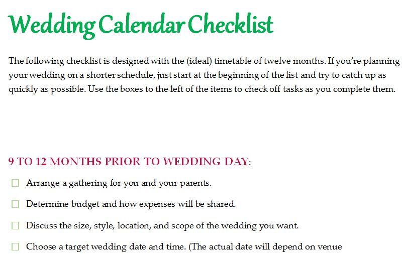 Wedding Calendar Checklist Template