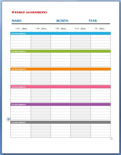 Weekly Assignment Calendar Template | Formal Word Templates