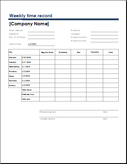 employees daily time record Weekly timesheet template  for employees,  with a simple difference that one records the time week by week and the other maintains the time record for two.