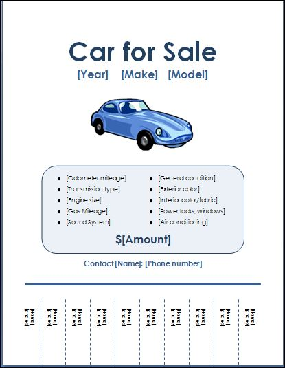 sales brochure template word - sample car for sale poster flyer template formal word