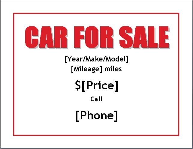 sample car for sale poster flyer template formal word templates