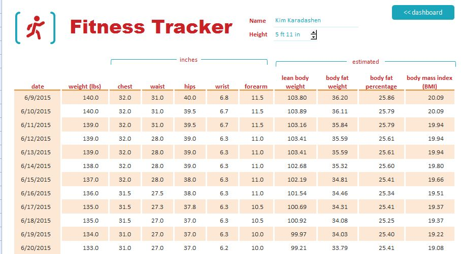 Fitness And Weight Measurement Tracker Template | Formal Word