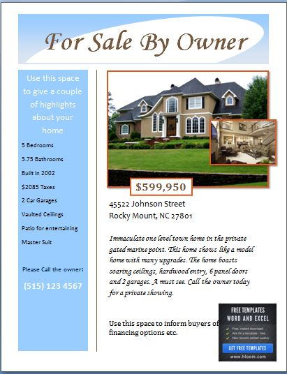 Sample real estate poster template formal word templates for Home for sale by owner flyer template
