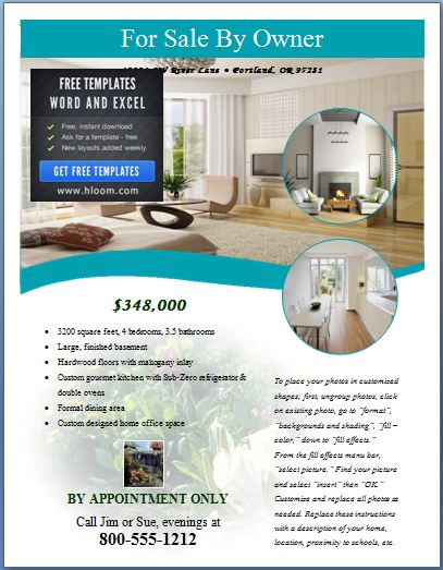 Sample Real Estate Poster Template Formal Word Templates - House for sale by owner template