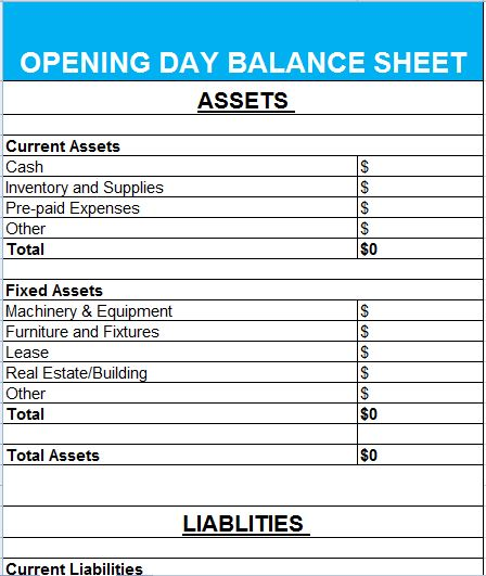 Attractive Opening Day Balance Sheet Ideas Opening Balance Sheet Template
