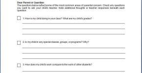 Parent-Teacher Conference Concern Checklist Template