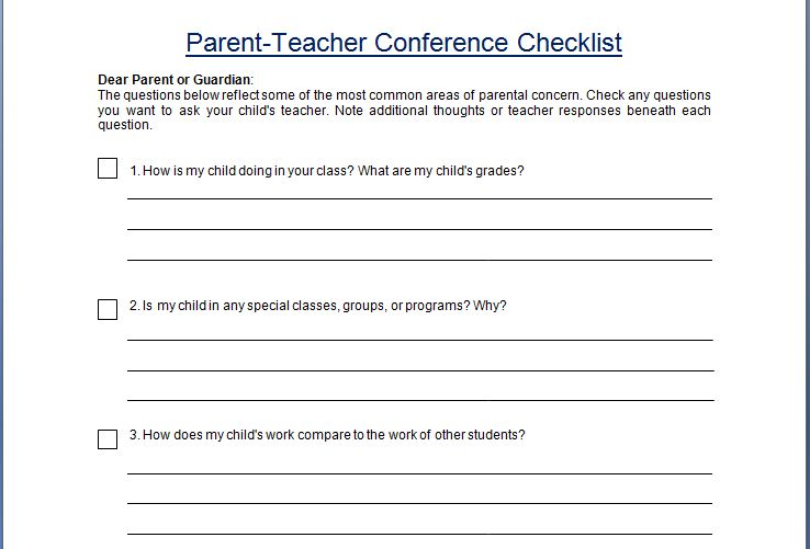 ParentTeacher Conference Concern Questionare Checklist Template