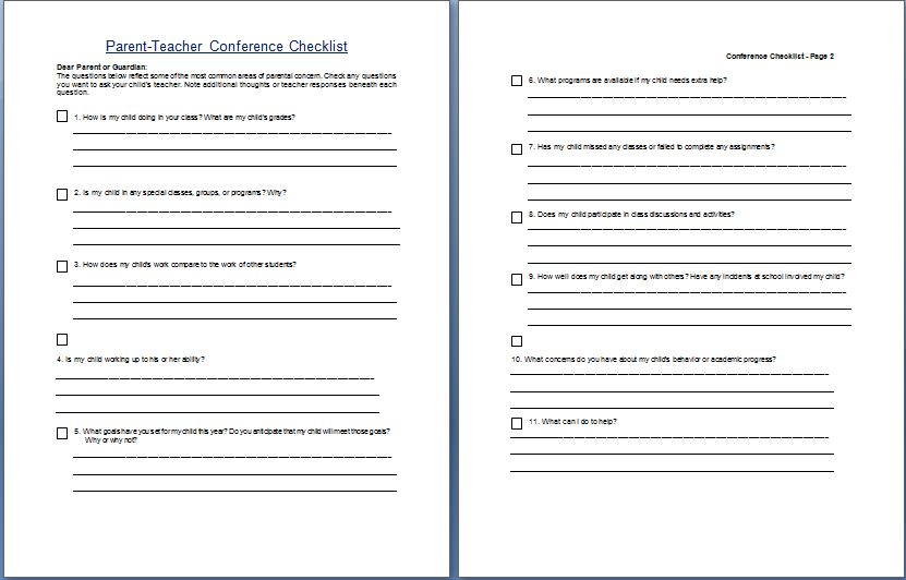 Parent-Teacher Conference Concern Checklist Template