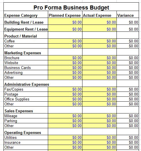Small business plan pro forma balance