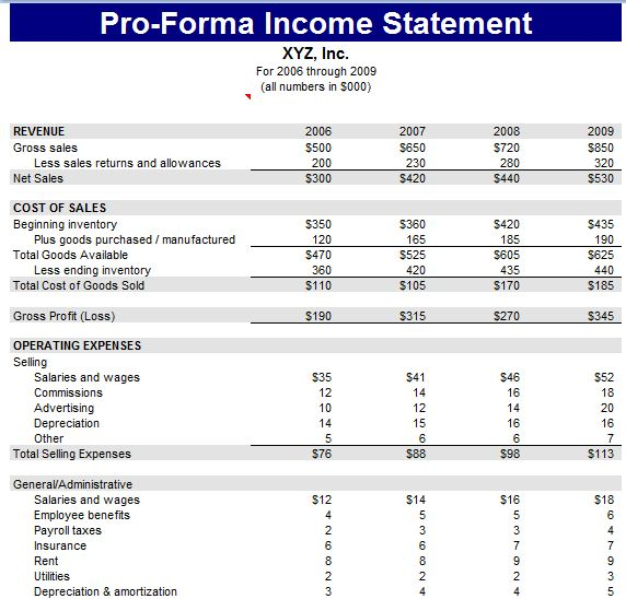 Proforma Income Statement Sheet