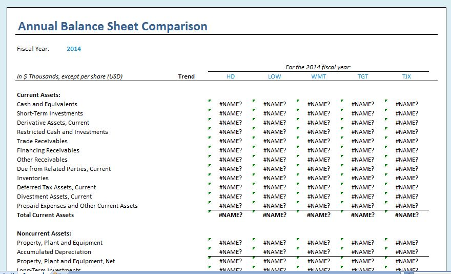 Yearly Comparison Balance Sheet Template  Formal Word Templates