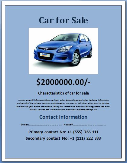 Sample Car For Sale Poster/Flyer Template | Formal Word Templates