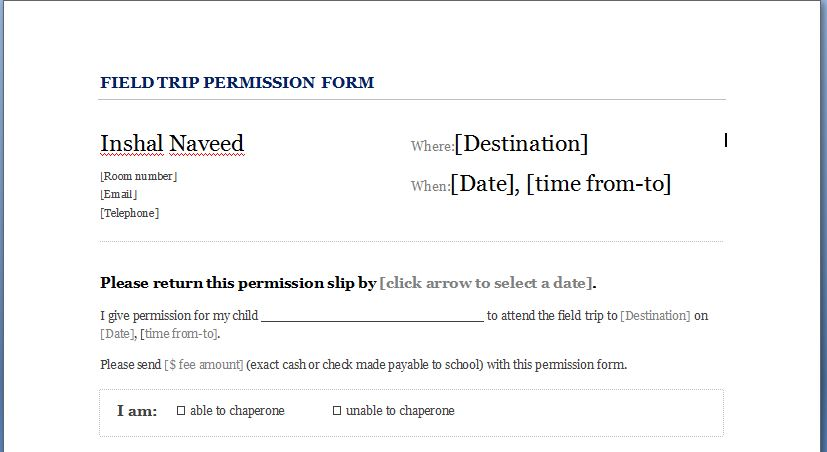 School Field Trip Permission Form For Students  Formal Word Templates