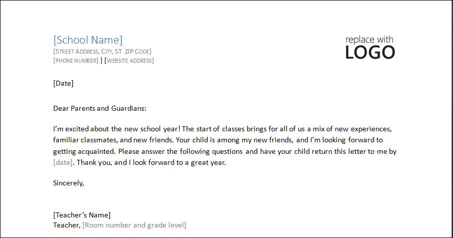 student profile information requesting letter to parents
