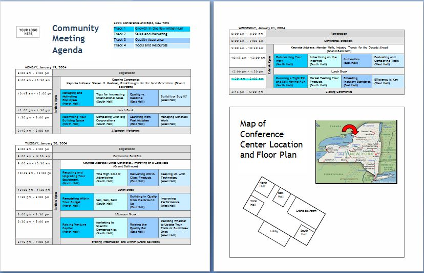 10Formally used Agenda Templates – Conference Schedule Template