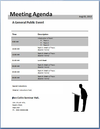 Conference Call Meeting Agenda Template  Formal Meeting Agenda Template