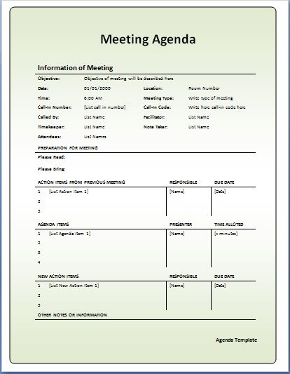 Formal Meeting Agenda Template  Best Meeting Agenda Template