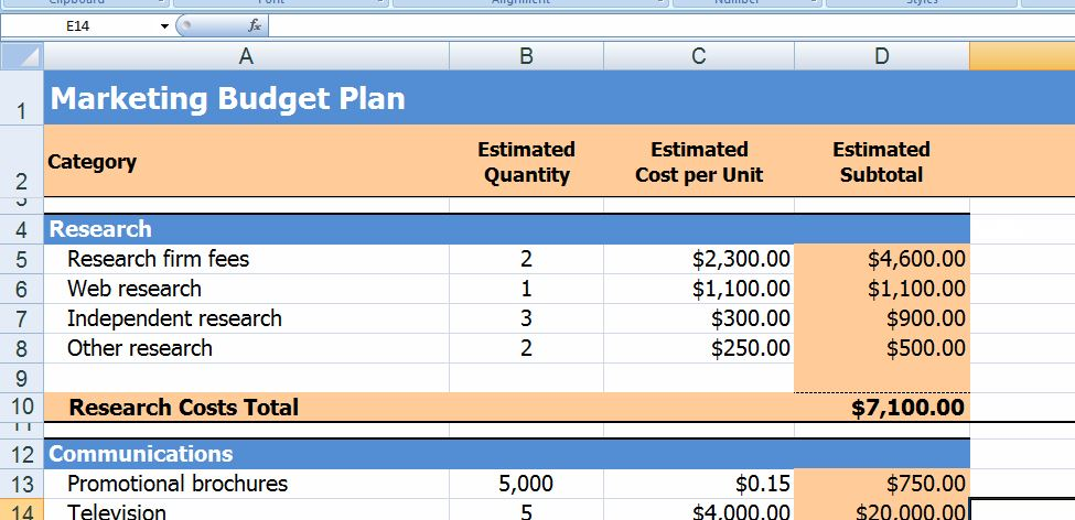 Marketing Budget Plan Template
