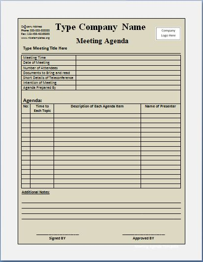 Official Meeting Agenda Template