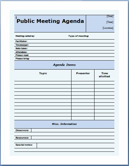 Public Meeting Agenda Template