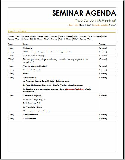Seminar Agenda Template  Meeting Schedule Template