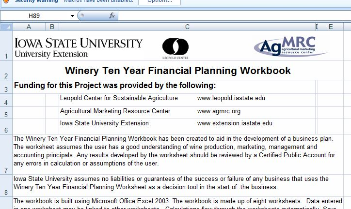 Winery Ten Year Financial Planning Workbook