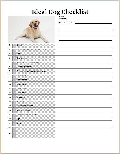 ms word my ideal dog checklist template