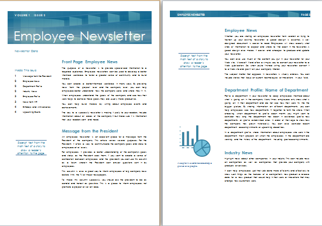 Ms word employee newsletter template formal word templates for Staff newsletter template