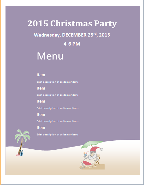 Christmas Party Menu Sheet