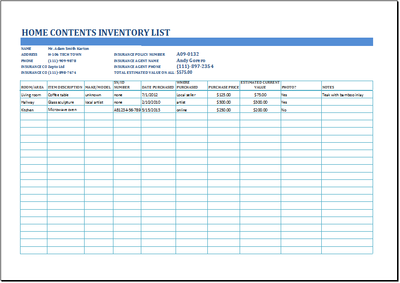 MS Excel Household Inventory List Template | Formal Word Templates