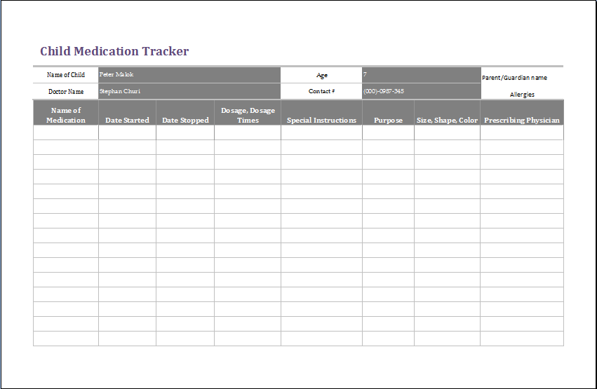 medicine prescription template - child medication tracker template ms excel formal word