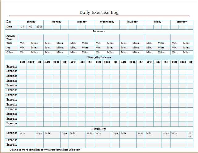Exercise And Meal Log Template For Word Excel Formal Word Templates