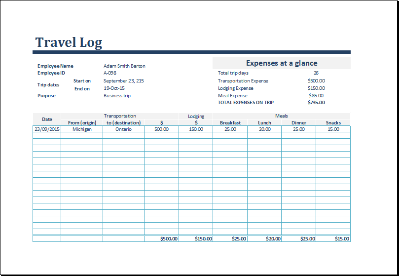 trip log template Customizable Travel Log Template for Excel | Formal Word Templates