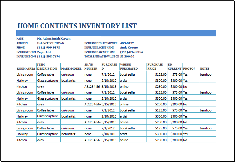 Inventory Spreadsheet Templates for Excel – Inventory Card Template