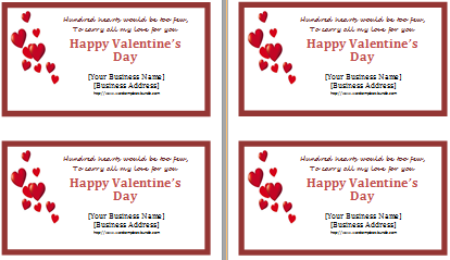 Valentine Day Greeting Card File Format Ms Word