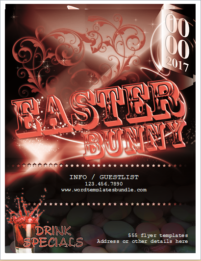 Easter Bunny Club Party Flyer | Formal Word Templates