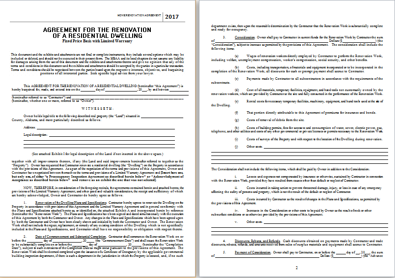 home renovation agreement template