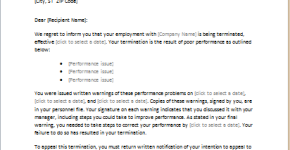 Letter of termination due to poor performance