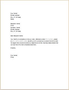 order canceling letter