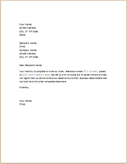 Business Letter About Cancelling An Order