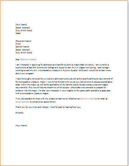 MS WORD Student Academic Letter Templates