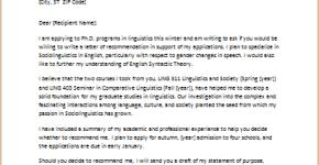 letter requesting graduate school recommendation
