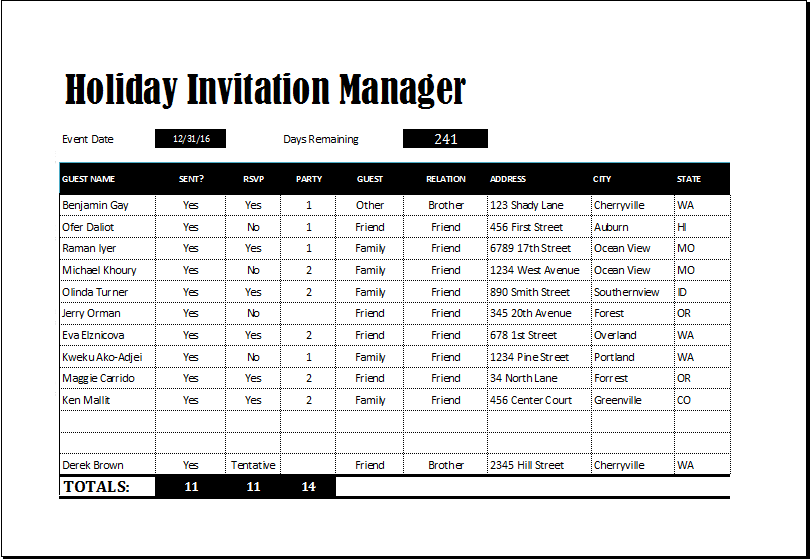 Holiday invitation manager