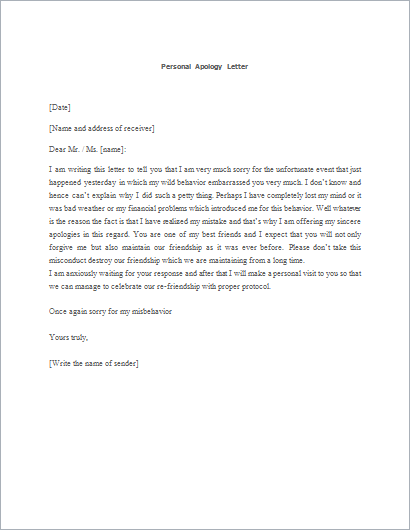 How to Write Apology Letter with Templates Formal Word Templates