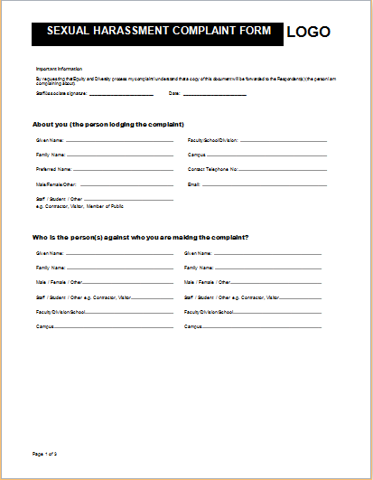 Sample harassment complaint form for Sexual harassment letter template