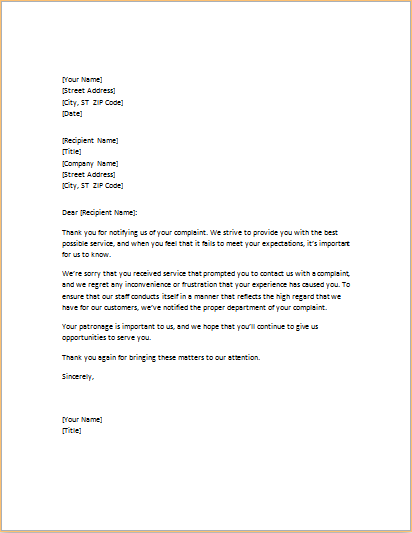 letter of apology for poor service