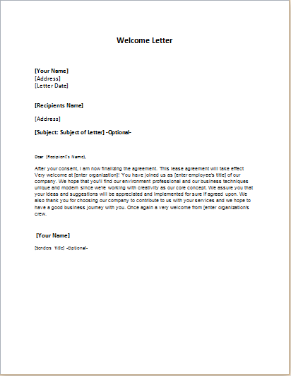 Welcome Letter Templates for MS WORD | Formal Word Templates